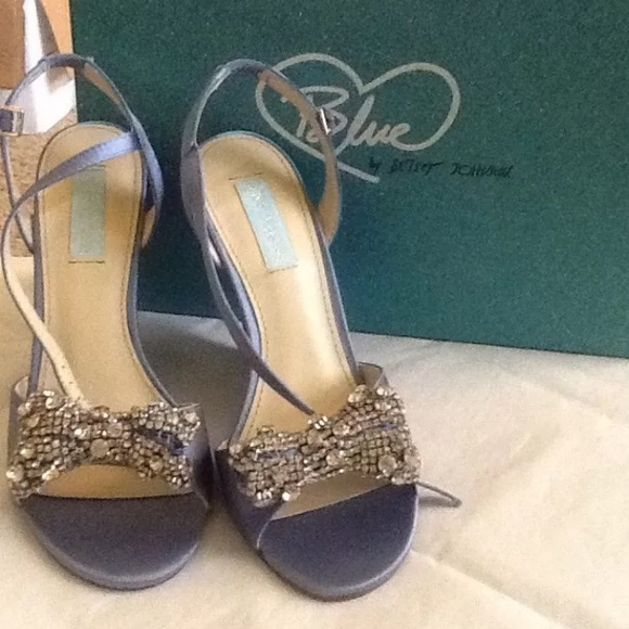 Blue Betsey Johnson Wedge Bridal Shoes W Crystals
